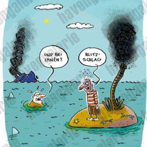 Ein Cartoon mit einem Schiffbrüchigen und einem Insulanervon Ari Wagner